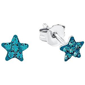 Amor Kinder-Ohrstecker Mädchen Sterne 925 Sterling Silber rhodiniert Kristall Türkis 5 mm