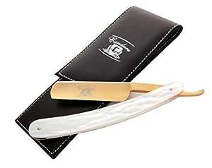 Rasoir barbier coupe-gorge droit doré + étui (doré-39)