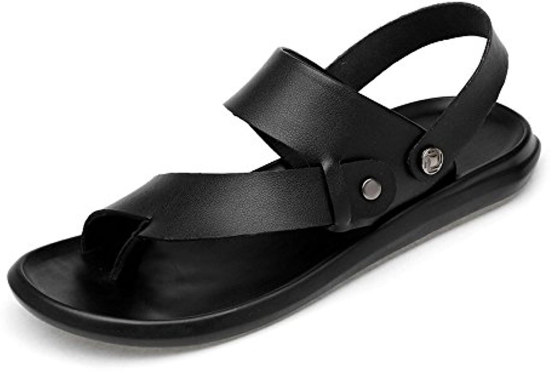 Chanclas Ocasionales de los Hombres Zapatillas de Playa de Cuero Genuino Sandalias Antideslizantes Negro