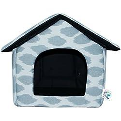 LOVE PET - Caseta de Tela Plegable/ Cuna Perro/ Habitación Portátil/ Nido Mascota para Perros, Gatos con forma de casa (motivo gris dalmata, S)