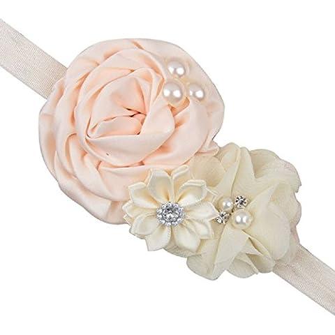 Tongshi Recién nacido accesorios de la flor del bebé Cinta de cabeza(Albaricoque)