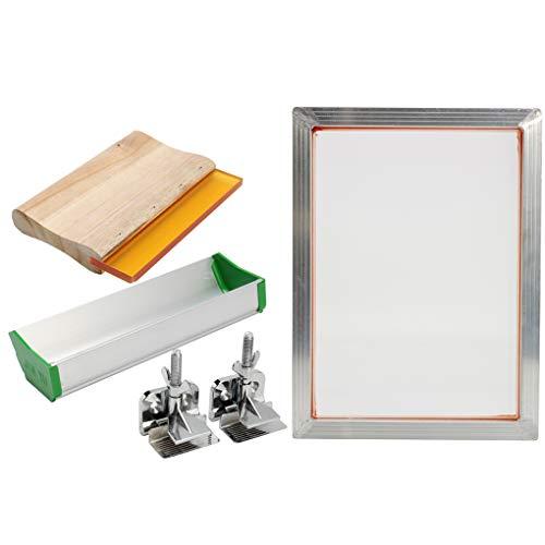 Nowear 5Pcs / Set Screen Printing Kit Aluminiumrahmen Hinge Clamp Emulsion Scoop Coater Squeegee Siebdruck Werkzeugteile