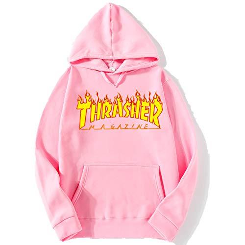 W&tt felpa con cappuccio da uomo, autunno caldo e inverno più lettere di velluto fiamma stampa uniforme baseball sciolto,pink2,xl