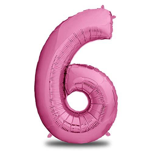 XXL Folien-Luftballon 6 Pink | Riesen Zahlen-Luftballon | 40