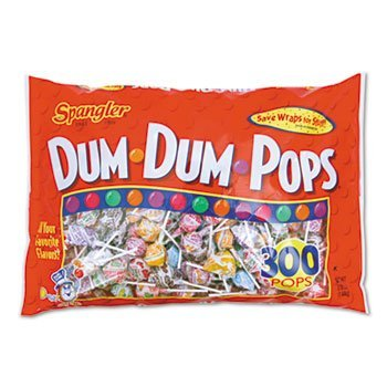 - Spangler Dum-Dum-Pops, Assorted Flavors, Individually Wrapped, 300/Pack by Spangler
