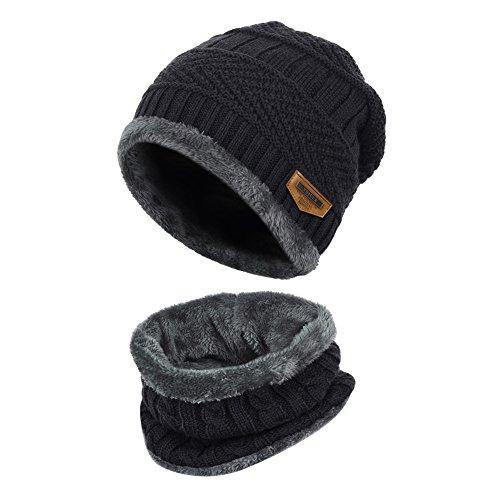 Vbiger Wintermütze Warm Beanie Strickmütze und Schal mit Fleecefutter (Schwarz)