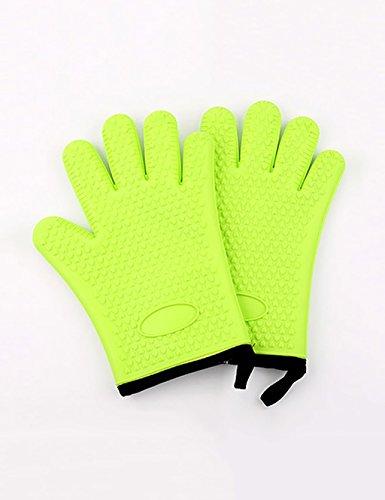 Preisvergleich Produktbild LHP Shoutao Silikon-Handschuhe Isolations-Handschuhe Five Fingers Plus Baumwoll-Handschuhe Küche Ofen Dedicated Anti-Scald Slip Handschuhe (Farbe : Grün)