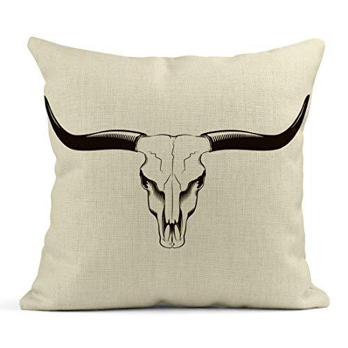 saletopk Funda de cojín Decorativa de Lino con diseño de Toro marrón con Calavera de Texas y Ganado, Esqueleto Oeste, de 16 x 16 Pulgadas, Cuadrada, de Lino