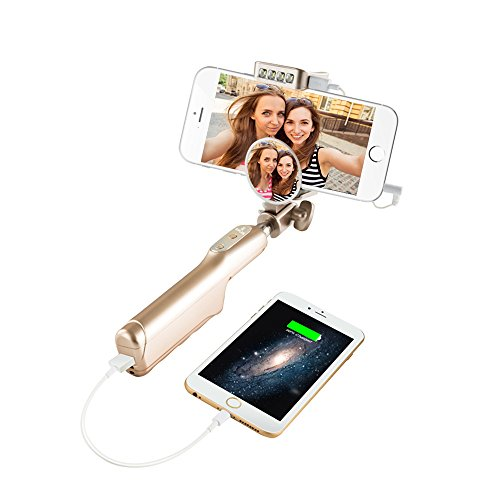 GPLAN Bastone Selfie Wired Selfie Stick con Power bank 3200mAh Batteria Esterna cellulare & LED Flash Estensibile, per iPhone 6/6S/6Plus/5/5S Samsung e Android ( oro )