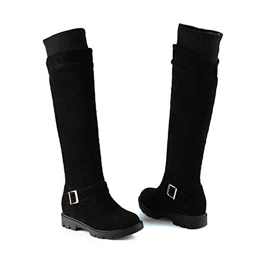 AgooLar Damen Rund Zehe Rein Blend-Materialien Stiefel Schwarz-Schnalle