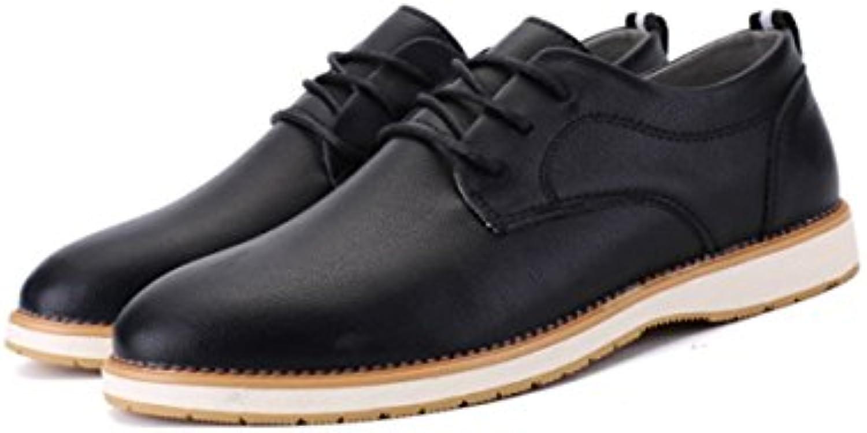 LYZGF Hombres Jóvenes Primavera Y Otoño Negocios Ocio Moda Encaje Zapatos De Cuero,Black-40  -