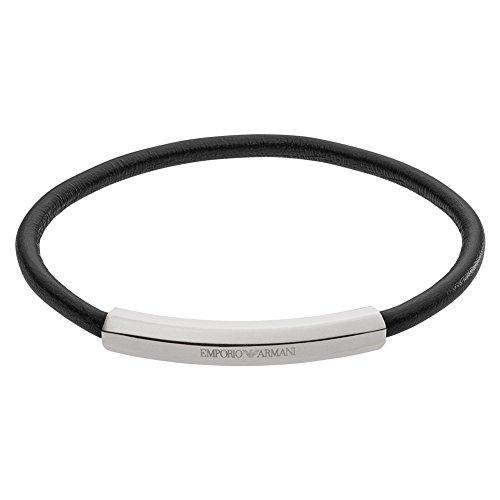 Emporio Armani EGS2405040 Herren Armband SIGNATURE Edelstahl Silber Schwarz 19 cm