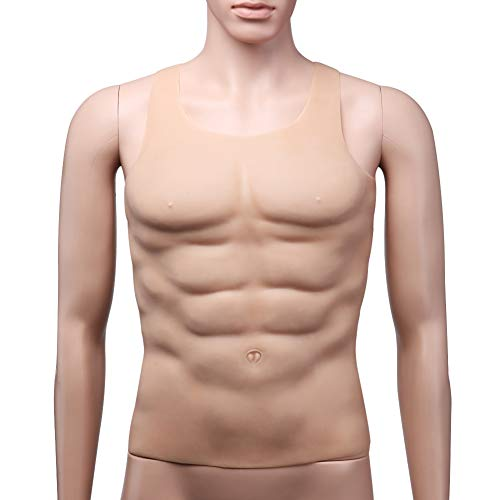 ZBB Falsche Bauch Falsche Brust Männer Realistische Muscle Top Hochwertige Medizinische Silikon Gefälschte Muscle Chest Halloween Requisiten Cosplay Makeup Lustiges Kleid Kostüm Zubehör (Flesh Farbe) (Halloween Prothesen-make-up Für)