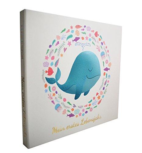 Geschenkset Fotoalbum Baby - Mein erstes Lebensjahr- DEUTSCHE EDITION / Das perfekte Taufgeschenk - Babygeschenk zur Geburt / Babyshower - liebevoll verpackt in wunderschöner Geschenkbox- Tokopi