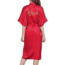 JiXuan Kimono Bata de Mujer Bata Larga clásica de satén Boda Ropa de Dormir ...