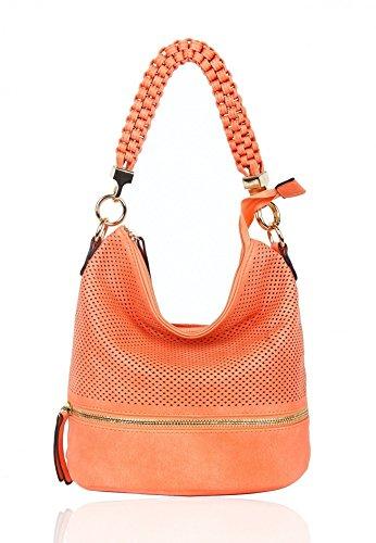 LeahWard® Damen Klein Größe Mode Modisch Berühmtheit Qualität Schulter Hobo-Taschen Damen Essener Schnell verkaufend Kreuzkörper Handtasche CWRF150331 (150906-Persimmon) - Chloe Hobo