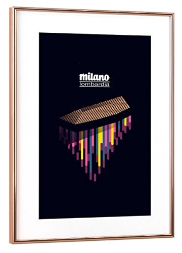 artboxONE Poster mit Rahmen Kupfer 60x40 cm Milano - Lombardia von Sasha Lend - gerahmtes Poster
