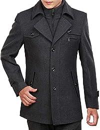 ROBO Manteau Laine Homme Hiver Chaud Trench-Coat Caban Elégant Pardessus  Veste Slim Fit Casual 9c2465883b41