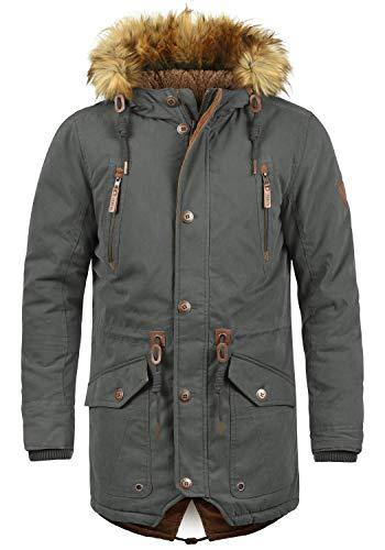 !Solid Vidage Herren Parka Lange Winterjacke mit Kapuze und Fellkragen aus Hochwertiger Baumwollmischung, Größe:M, Farbe:Dark Grey (2890)