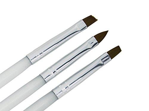 #3-teilig Premium PINSEL-SET AcrylStiel weiß Nageldesign – nd24 BESTSELLER – Feinhaar Brush Set – Gel-Pinsel Nailart-Pinsel French-Pinsel Katzenzunge UV Nagel-Gel Modellage Nageldesign Naildesign#