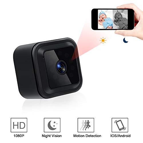 Mini Kamera, UYIKOO HD 1080P Mini WiFi Kamera 140 Grad Tragbare Überwachungskamera Kleine Drahtlose IP Nanny Sicherheitskamera mit Nachtsicht- und Bewegungserkennung Unterstützung IOS/Android App
