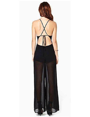 GSP-Combinaisons Aux femmes Sans Manches Sexy Coton Fin Micro-élastique black-l
