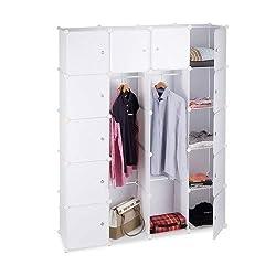 Relaxdays Kleiderschrank Stecksystem mit 2 Kleiderstangen, Garderobe mit 14 Fächer, Kunststoff Regalsystem, weiß