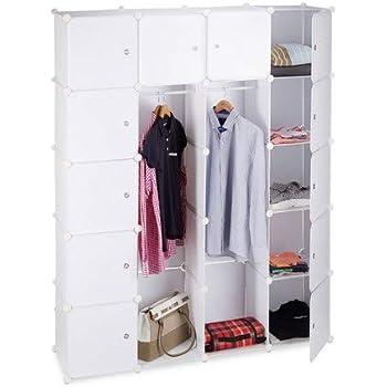 vielseitiges Regalsystem schwarz Relaxdays Kleiderschrank Stecksystem aus Kunststoff Garderobe mit 2 Kleiderstangen