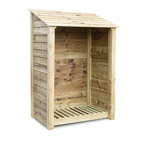 Rutland County Garden Furniture GREETHAM 6FT - WOODEN LOG STORE/GARDEN STORAGE, GREEN, HEAVY DUTY, HAND MADE, PRESSURE TREATED.