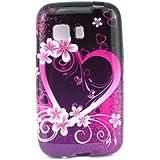 Para Galaxy Young 2 G130 , TUTUWEN A40 Stylish Flower Corazón [Flexible Suave TPU] Bumper Case Protector Rear Tapa Funda Carcasa Cover para Samsung Galaxy Young 2 SM-G130