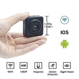 como funciona camara espia wifi: Mini Cámara Espía WiFi 1080P HD LXMIMI Cámara Inalámbrica Escondida Súper Pequeñ...