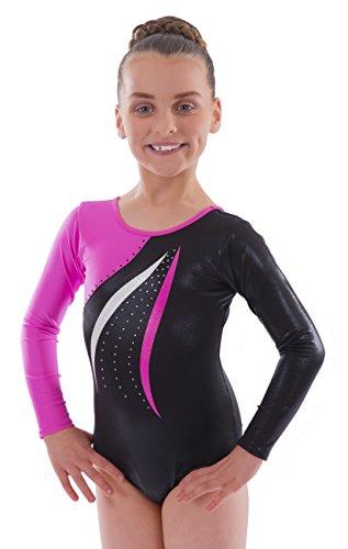 Vincenza Dancewear Mambo Girls Long Sleeved Leotard for Gymnastics (Pink, 9-10 Years, 30