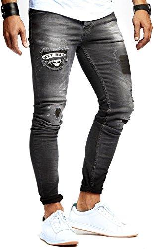 Leif Nelson Herren Jeans Hose Slim Fit Denim Blaue graue Lange Jeanshose für Männer Coole Jungen weiße Stretch Freizeithose Schwarze Cargo Chino Sommer Winter Basic LN9940SC Schwarz W32/L30