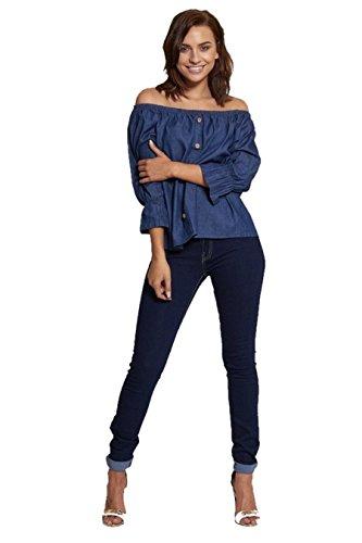 Italy Moda Damen Lamarmshirt Einheitsgröße Blau