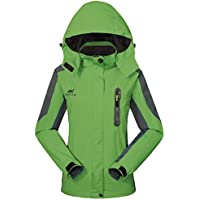 GIVBRO Impermeable Chubasquero Mujer Softshell Chaqueta para Exteriores Sport diseño Funktions Transpirable con Capucha Camping Hiking Chaqueta, Mujer, Verde