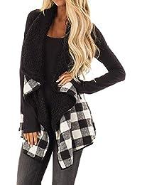 MEIbax Casual Moda Suéter Chaleco calentable para Mujer de Estampado de  Cuadros y Leopardo otoño Invierno Chaquetas Gilet Sin Mangas… e9fd2dfb8bec