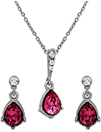 Mahi Valentine's Day Gift Rhodium Plated Love Drop Pendant Set With Swarovski Crystals For Women NL1104144R