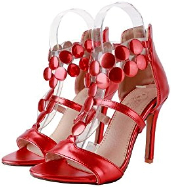 ZHZNVX Nuevas sandalias con punta abierta y sandalias con cremallera en el talón alto, rojas, 46 -
