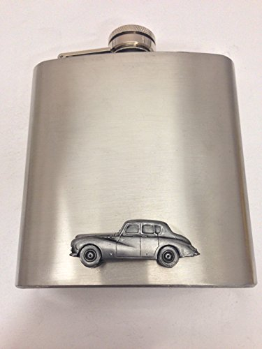 sunbeam-talbot-mk3-ref242-pewter-effect-emblem-on-6oz-stainless-steel-hip-flask-captive-top