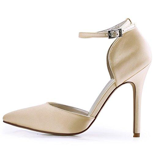 ElegantPark HC1602 Donna Satin Scarpe A Punta Cinturino Alla Caviglia Tacco A Spillo Pompe Partito Scarpe Da Sposa Champagne