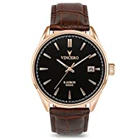 Vincero Luxury Men's Kairos Watch with Italian Leather Watch Band