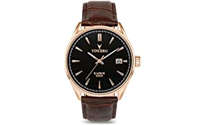 Vincero Luxury Men's Kairos Wrist Watch - Rose Gold with Brown Leather Watch Band - 42mm Analog Watch - Japanese Quartz Movement
