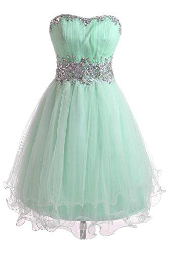 Gorgeous Bride Zaertlich Traegerlos Mini A-Linie Organza Tuell Abendkleid Ballkleid Festkleid-56...