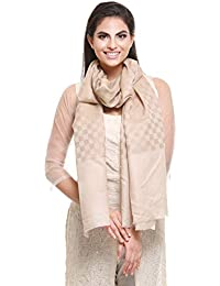 Pashtush Women's Wool Self Reversible Stole Check Design, Silk-Wool, Scarfs, Shawls, Stoles, Wraps (size 28 x 80 inches)