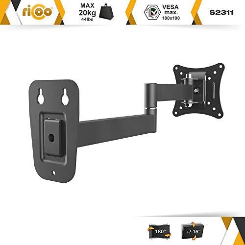 Monitor Wand-Halterung Monitor-Halterung Schwenkbar Neigbar S2311 |RICOO| Schwenkarm TFT Wandhalterung LCD LED Wandhalter fuer Flach-Bildschirm PC-Monitor 43-49-54-61-68cm / 17′ 19′ 22′ 24′ 27′ Zoll | VESA 75×75 100×100 universell passend fuer viele TV und Monitor Hersteller |Wandabstand nur 65 mm| - 2