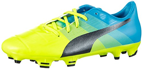 Puma - Evopower 1.3 Fg Jr, Scarpe da calcio Unisex – Bambini Giallo (Gelb (safety yellow-black-atomic blue 01))