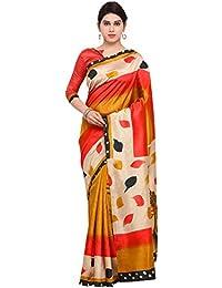 Applecreation Women's Bhagalpuri Silk Saree (Peach & Mustard_7Wom9701_Free Size)