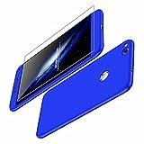 AILZH Huawei P9 Lite(2017) Hülle/P8 Lite(2017) Hülle/Honor 8 lite Hülle+Gehärteter Glas Film 360°Schutzhülle HandyHülle Anti-Schock Ganzkörper Stoßfänger 360 Grad Cover Case(Blau)