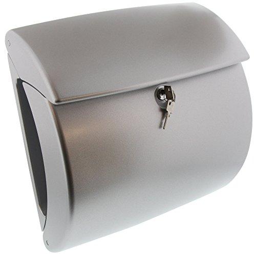 BURG-WÄCHTER, Briefkasten, Edles Design, A4 Einwurf-Format, Innenbeleuchtung, Kunststoff, Kiel 886 Si, Silber
