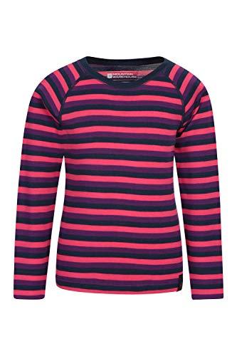 Mountain Warehouse Merino Gestreiftes Kinder-Rundhalsoberteil Thermounterwäsche Langarmshirt Winter Baselayer Rosa 104 (3-4 Jahre)